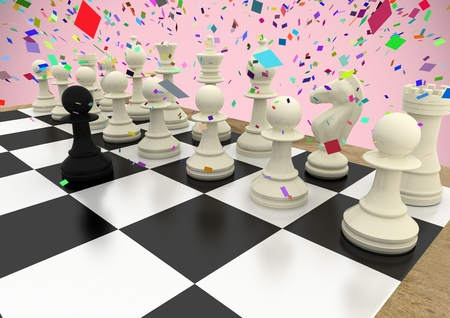 Digital composite of 3D Chess pieces against pink background with confetti