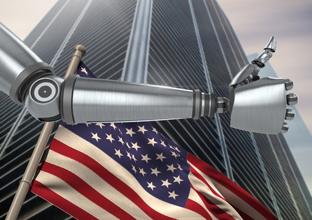 outstretched: Digital composite of Robot with thumbs up against 3D american flag and skyscraper