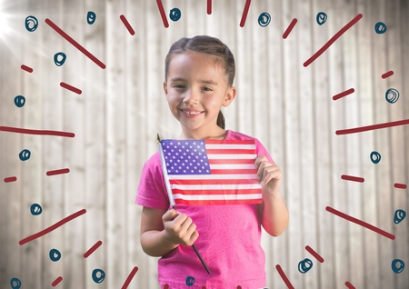 simulator: Digital composite of Girl holding american flag against blurry wood panel with firework doodle