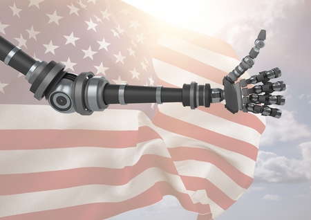 Digital composite of Robot with thumbs up against american flag Stock Photo