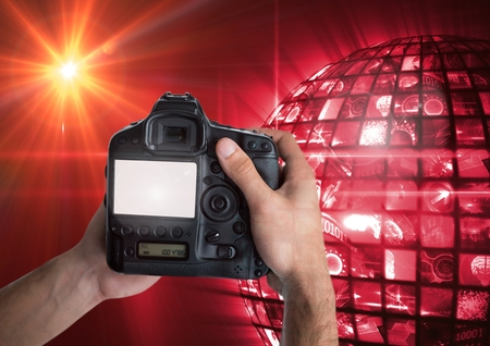 Digital composite of Photographer in front of lights_Photographer in front of lights_0026 Stock Photo