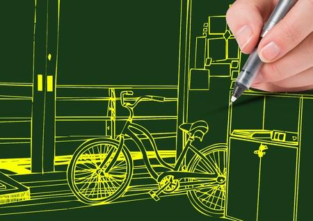 spolužák: Digitální kompozit ručně kreslení 3D kancelářské žluté linky na zeleném pozadí Reklamní fotografie