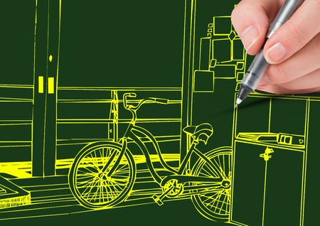 3d mode: Digital composite of hand drawing 3D office yellow lines on green background Stock Photo
