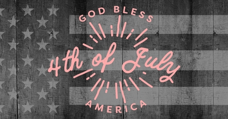 composite image: Digital composite of Pink fourth of July graphic against grey american flag on wood panel Stock Photo