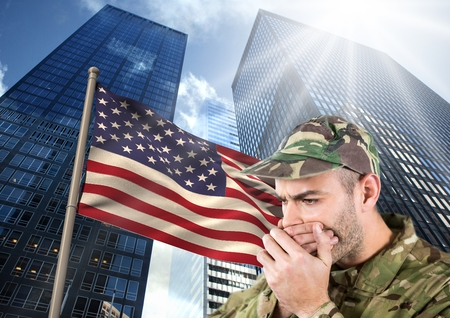 militant: Digital composite of military covering his mouth against american flag and skyscrappers