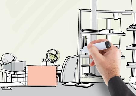 手描きのオフィス ラインのデジタル合成。ほんの少しの色の