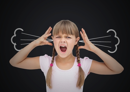 Digital composite of anger girl with steam on ears. Black  background