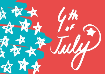 army face: Digital composite of White fourth of July graphic against hand drawn star pattern and red background
