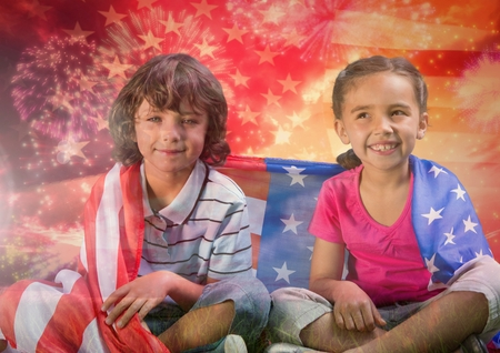 spangled: Digital composite of Children seated covered by american flag