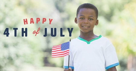 Digital composite of Fourth of July graphic next to boy holding american flag