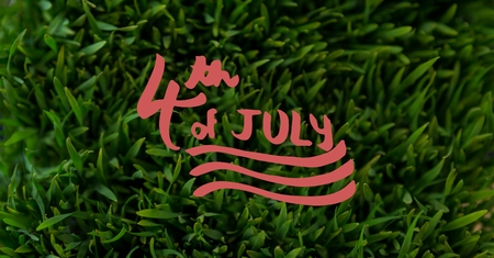 man made: Digital composite of Red fourth of July graphic against grass