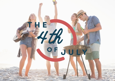 composite: Digital composite of Fourth of July graphic against millennials at beach party Stock Photo