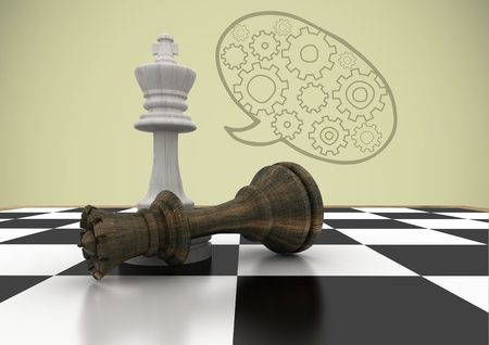 tactics: Digital composite of Chess pieces against green background and speech bubble with cogs