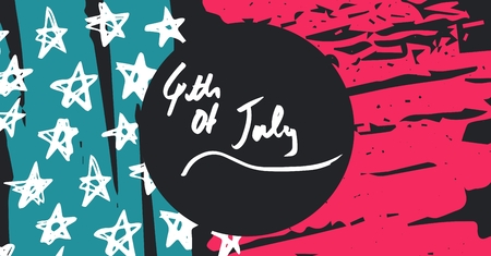Digital composite of White fourth of July graphic in grey circle against hand drawn hand drawn pink, blue, white and grey