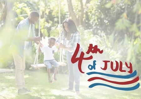 미국 가족의 디지털 합성물로 7 월 4 일의 스윙
