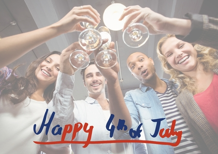 Digital composite of Fourth of July graphic against millennials toasting with white overlay