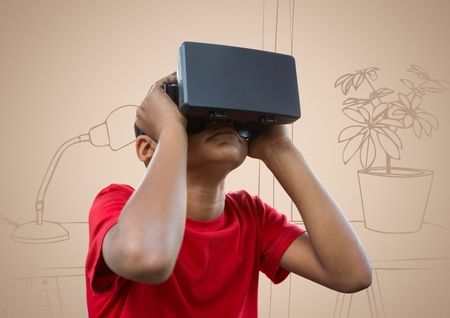 Digital composite of Boy in virtual reality headset against cream hand drawn office Stock Photo