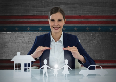 floorboard: Digital composite of Business woman with house, family and car on paper Stock Photo