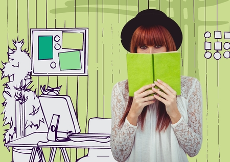 fringe: Digital composite of Millennial woman with green book against green hand drawn office