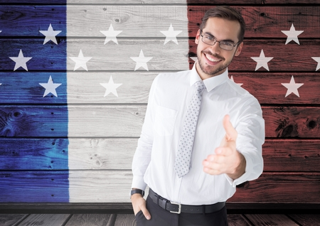 extending: Digital composite of Business Man shaking his hand against french flag