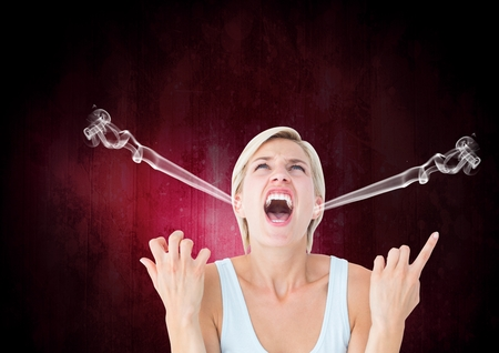 Digital composite of anger young woman shouting with steam on ears. Black and pink background