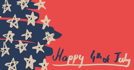 digital composite: Digital composite of Cream and navy fourth of July graphic against hand drawn star pattern and red background