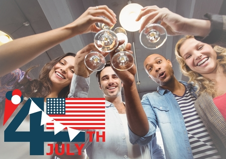 Digital composite of Fourth of July graphic with flag and ice cream against millennials toasting