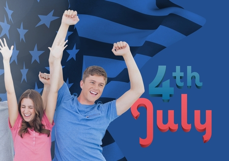stealer: Digital composite of happy couple raising their arms for the 4th of july
