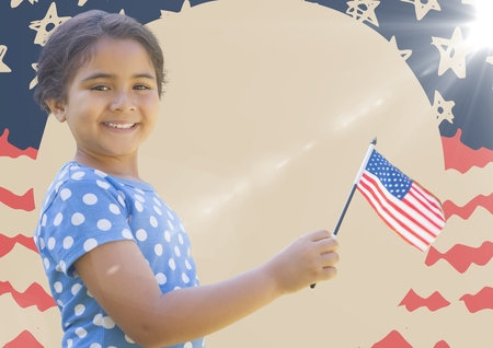 Digital composite of Girl smiling and holding american flag against hand drawn american flag with flare Stock Photo