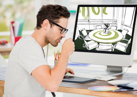 Digital composite of Young man taking coffee. Computer behind with new meeting room design lines.