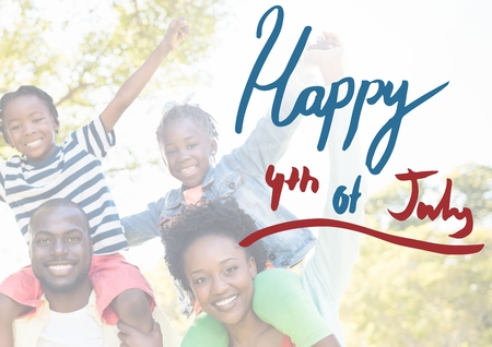 grasslands: Digital composite of Smiling american family for the 4th of July