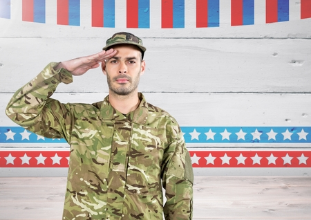 Digital composite of Soldier with hand on head in front of american background Stock Photo