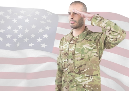 Digital composite of Soldier with hand on head in front of american flag
