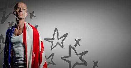 Digital composite of Man wrapped in american flag against grey background with hand drawn star pattern