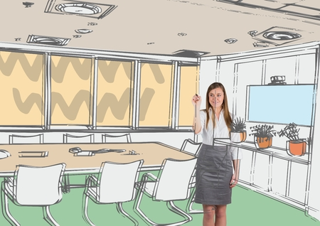 well dressed woman: Digital composite of business young woman 3D drawing office lines Stock Photo