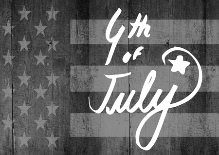 stealer: Digital composite of White fourth of July graphic against grey american flag on wood panel