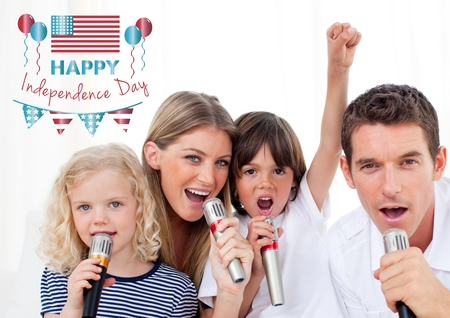 Digital composite of Happy family singing for independence day