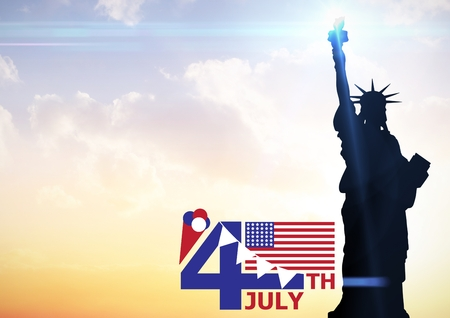 Digital composite of Fourth of July graphic with flags and ice cream against evening sky with statue of liberty