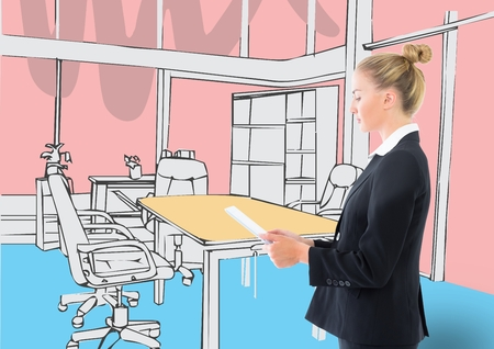 Drawing Lines In Office : Digital composite of business young woman d drawing office lines