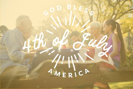 Digital composite of Family having picnic for the 4th of July Stock Photo - 81009601