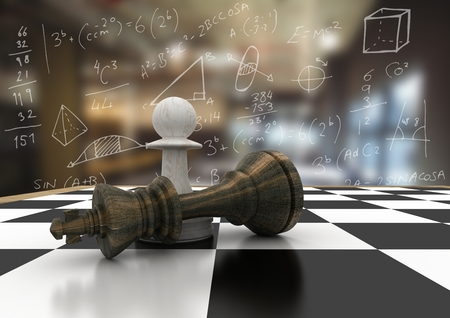 tactics: Digital composite of 3D Chess pieces against blurry cafe with white math doodles Stock Photo
