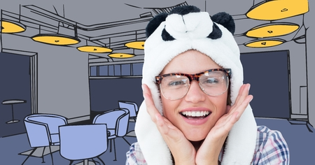 Digital composite of Millennial woman in panda hat against 3D blue hand drawn office