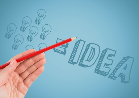 Digital composite of Hand with red pencil pointing at idea doodle against blue background Stock Photo