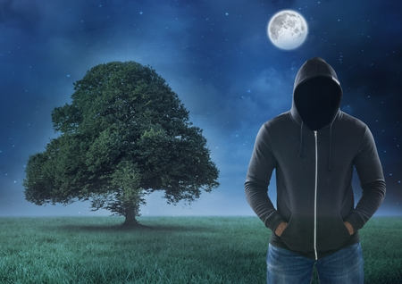 Digital composite of Hacker standing on in front of  field