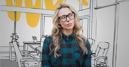 composite image: Digital composite of Millennial woman against 3D grey and yellow hand drawn office