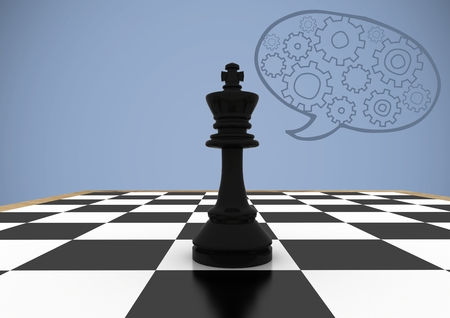 Digital composite of 3D Chess pieces against purple background with speech bubble and cogs