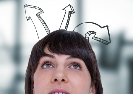 Digital composite of Top of womans head and upward 3D arrows against blurry grey office Stock Photo
