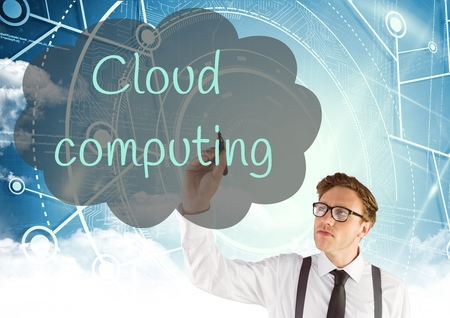 writing on screen: Digital composite of Young man writing in the screen CLOUD COMPUTING inside a cloud. Computing background