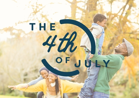 grasslands: Digital composite of Blue fourth of July graphic against family in forest Stock Photo