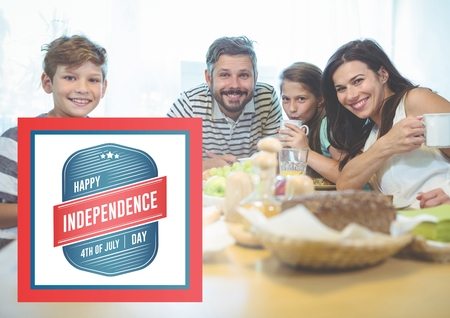 Digital composite of Smiling family having a breakfast for the independence day